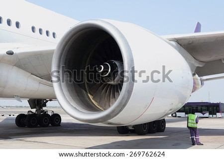 close up of an airplane engine - stock photo