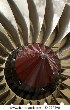 Close up of an airplane engine in perfect condition - stock photo