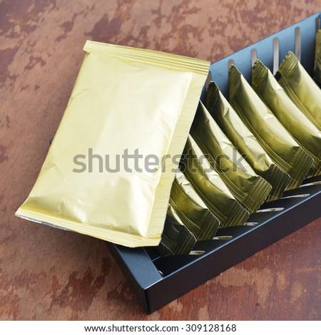 close up of an aluminum bags  - stock photo