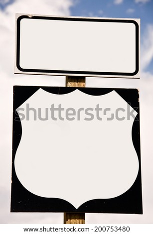 Close up of an american blank road sign - stock photo