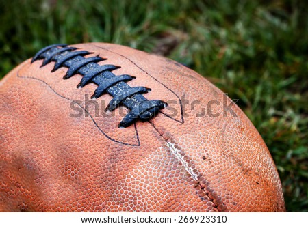 Close up of an american football - stock photo