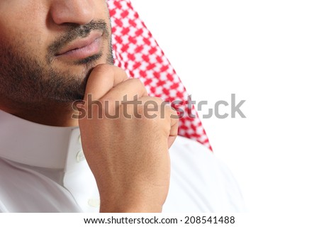 Close up of an arab saudi emirates man thinking isolated on a white background               - stock photo