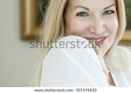 Close-up of an attractive young woman - stock photo