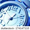 Close up of an clock face - stock photo