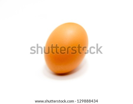 Close up of an egg on white background with shallow depth of field, dreamy look