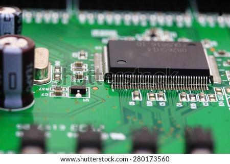 Close up of an electronic circuit board,CPU an electronic circuit board - stock photo