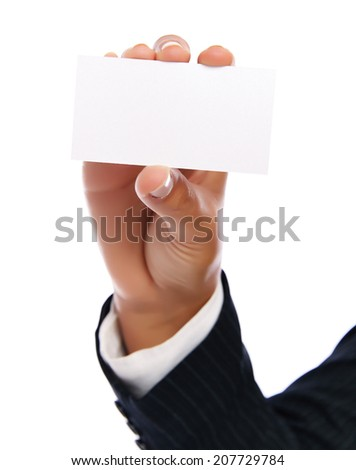 Close up of an empty business card.   Isolated on a white background.