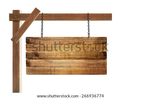 close up of an empty wooden sign hanging - stock photo