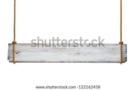 close up of an empty wooden sign hanging on a rope on white background - stock photo