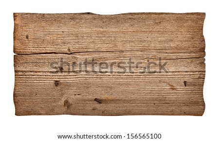 close up of an empty wooden sign on white background