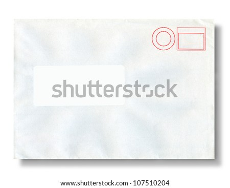 Close-up of an envelope on white with clipping path for address. - stock photo