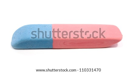 close up of an eraser on white background with clipping path - stock photo