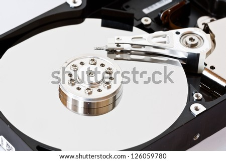 Close-up of an hard disk drive