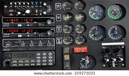 Close up of an helicopter control panel