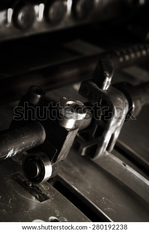 Close-up of an industrial machine tool - stock photo