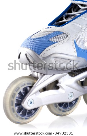Close up of an inline skate, isolated on white. - stock photo