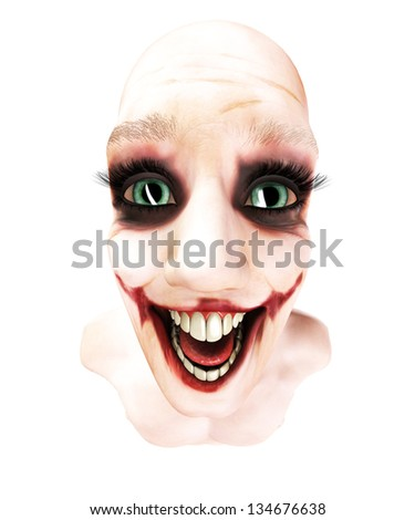 Close up of an insane person - stock photo