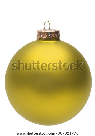 Close-up of an isolated gold christmas ball or bauble.