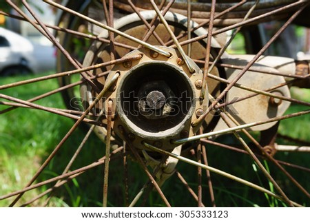 Close up of an old Bicycle Wheel