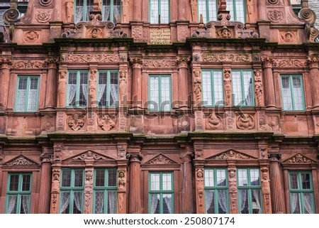 close-up of an old building in heidelberg - stock photo