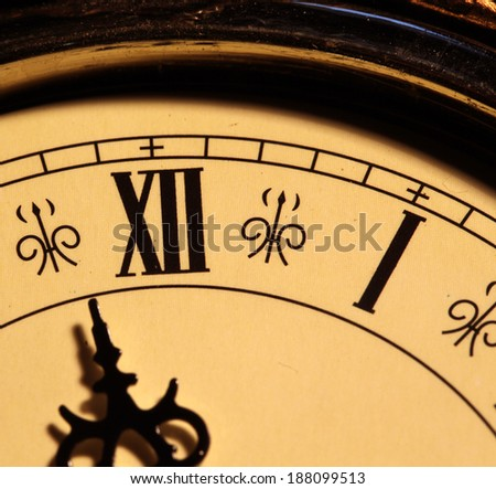 Close up of an Old clock face