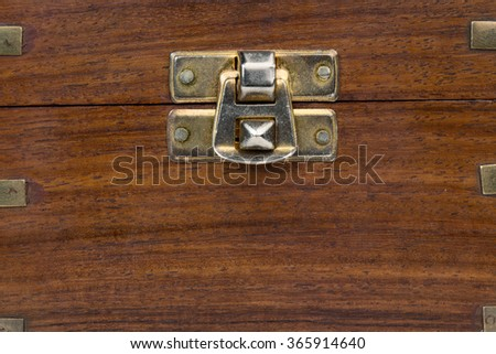 close up of an old-fashioned wooden chest - stock photo