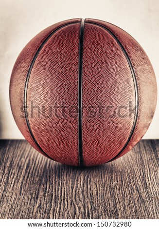 Close up of an old leather basketball - stock photo