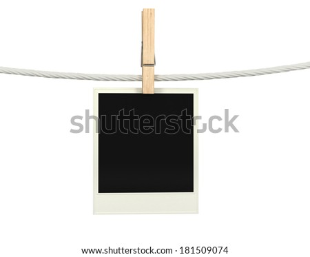 close up of an old photo and clothes peg - stock photo