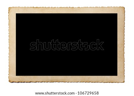 close up of an old photo on white background with clipping path - stock photo