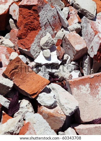 close up of an old pile of bricks - stock photo