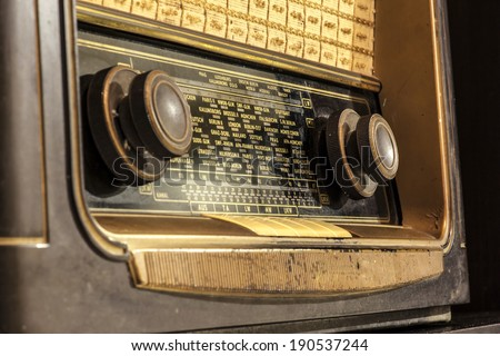 Close up of an old radio - stock photo