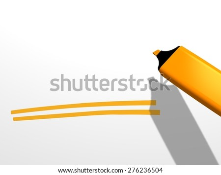 close-up of an orange pen marker used to underline with two strokes a blank area on a white background, which is to be completed with an undefined word