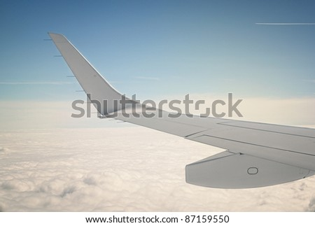 close up of an passenger airplane wing edge