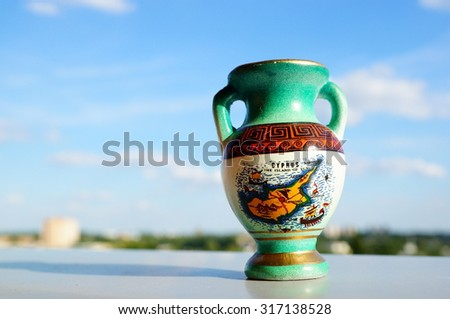Close-up of an small Cyprus vase - stock photo