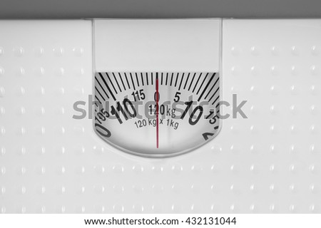 Close up of analog weight scale - stock photo