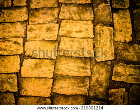 Close up of ancient floor of an thailand, with old bricks