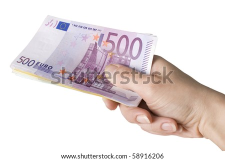 Close-up of100, 200 and 500 Euro banknotes in woman's hand. Isolated on a white background - stock photo
