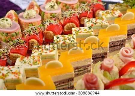 Close up of antipasto and catering platter with different appetizers, restaurant menu, selective focus - stock photo