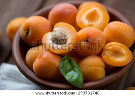 Close-up of apricots, selective focus, shallow depth of field - stock photo