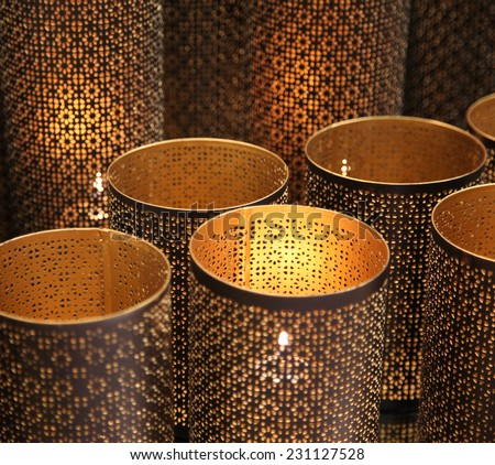 Close up of arabic candle lights - stock photo