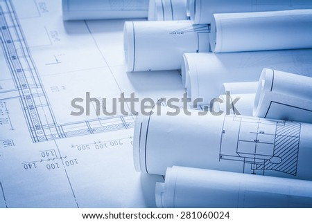 Close up of architecture construction plans building concept  - stock photo