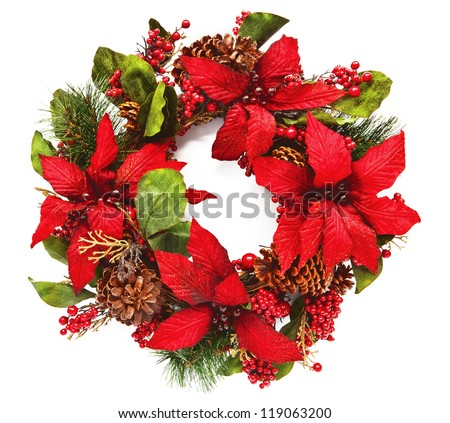 Close-up of artificial Christmas wreath with poinsettia flowers and natural pine-cones. Square crop isolated on white - stock photo