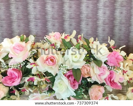 Close up of artificial flower bouquet.