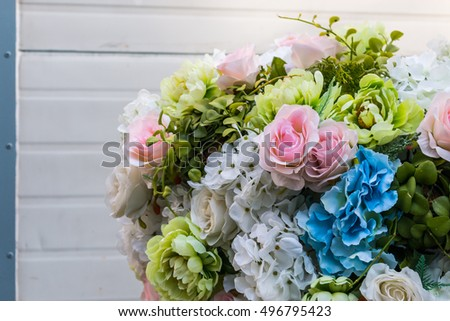 Close up of artificial flowers