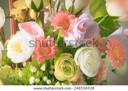 Close up of artificial flowers,vintage Bouquet - stock photo