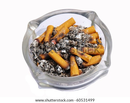 close up of ashtray and cigarettes on white background - stock photo