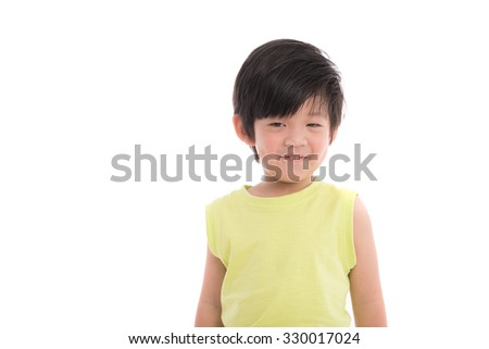Close up of asian boy smiling on white background isolated