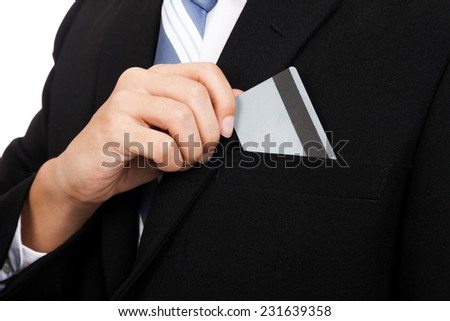 Close up of Asian businessman pull a card from his pocket