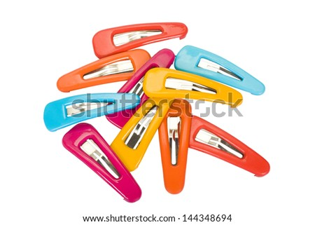 Close-up of assorted hair clips - stock photo