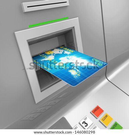 Close Up of ATM Machine with Credit Card - stock photo